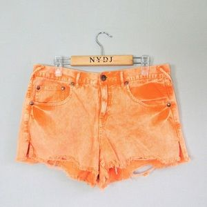 Free People orange jean distressed shorts